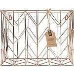 U Brands - Vaso para lápices, alambre de metal, Organizador de archivos colgante, Copper/Rose Gold