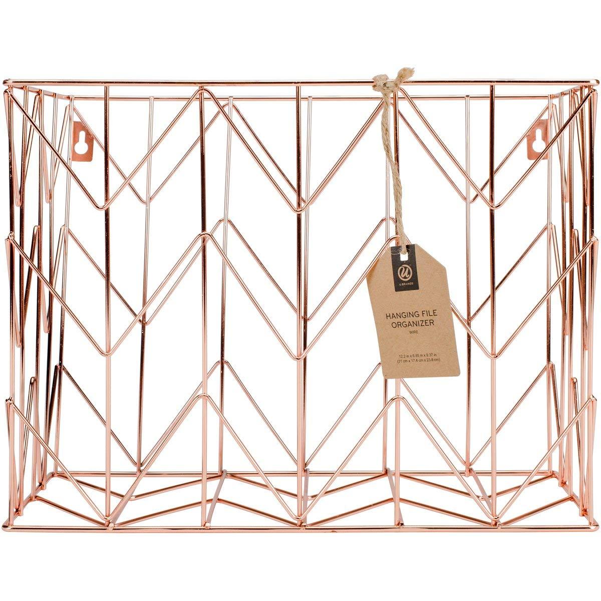 U Brands Hanging File Desk Organizer, Wire Metal, Copper/Rose Gold by U Brands