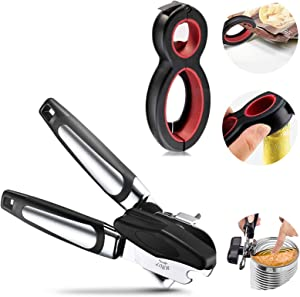 UHKZ Can Opener Manual Set -Smooth Edge Can Opener and 6 in 1 Multi Function Bottle Jar Opener, Easy to Open All Type Cans Bottles, Great for Hand Weakness Women Children and Seniors with Arthritis