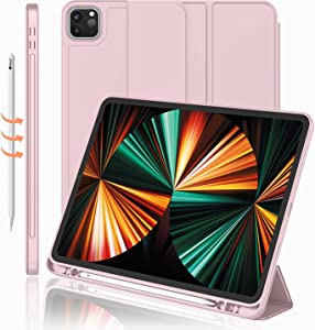 iMieet New iPad Pro 12.9 Case 2021(5th Gen) with Pencil Holder [Support iPad 2nd Pencil Charging/Pair],Trifold Stand Smart Case with Soft TPU Back,Auto Wake/Sleep(Pink)