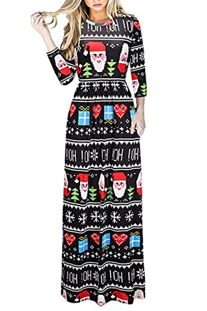 71281ab036167 Salimdy Women Christmas Long Sleeve Stretch Full Length Crew Neck Loose Maxi  Dresses with Pockets 1201