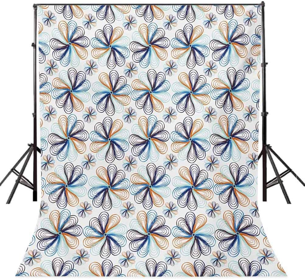 Colorful 8x10 FT Photo Backdrops,Floral Pattern with Hand Drawn Elements Abstract Artful Gardening Plants Theme Background for Baby Shower Birthday Wedding Bridal Shower Party Decoration Photo Studio