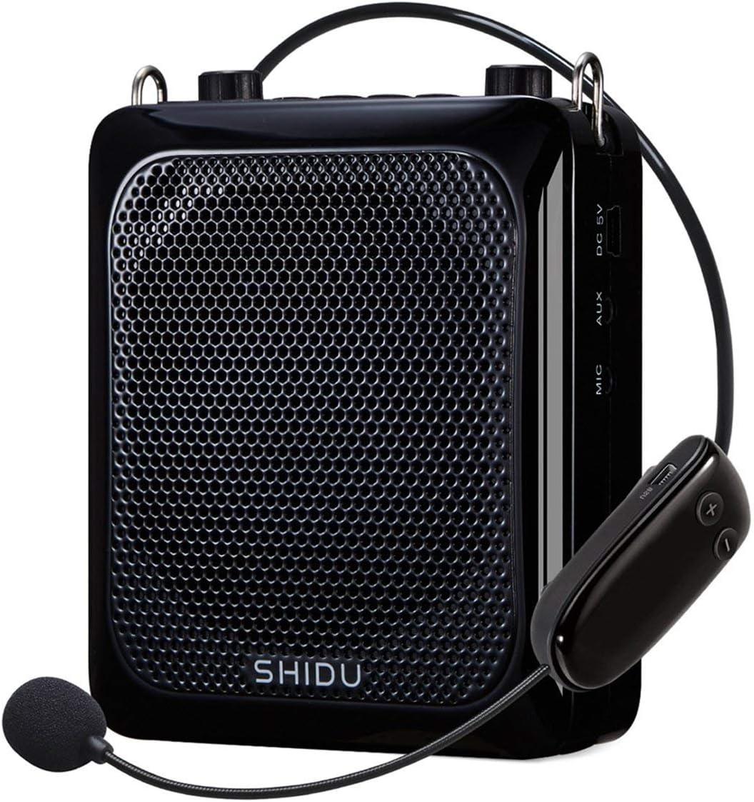 Amplificador de voz inalámbrico portátil (25 W), altavoz amplificado Bluetooth SHIDU 2000mAh Sistemas PA recargables con micrófono inalámbrico para maestros/capacitadores/guías de viaje