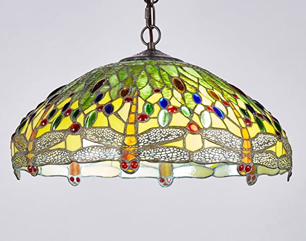 New Legend Tiffany Style Stained Glass Dragonfly Hanging Lamp ...