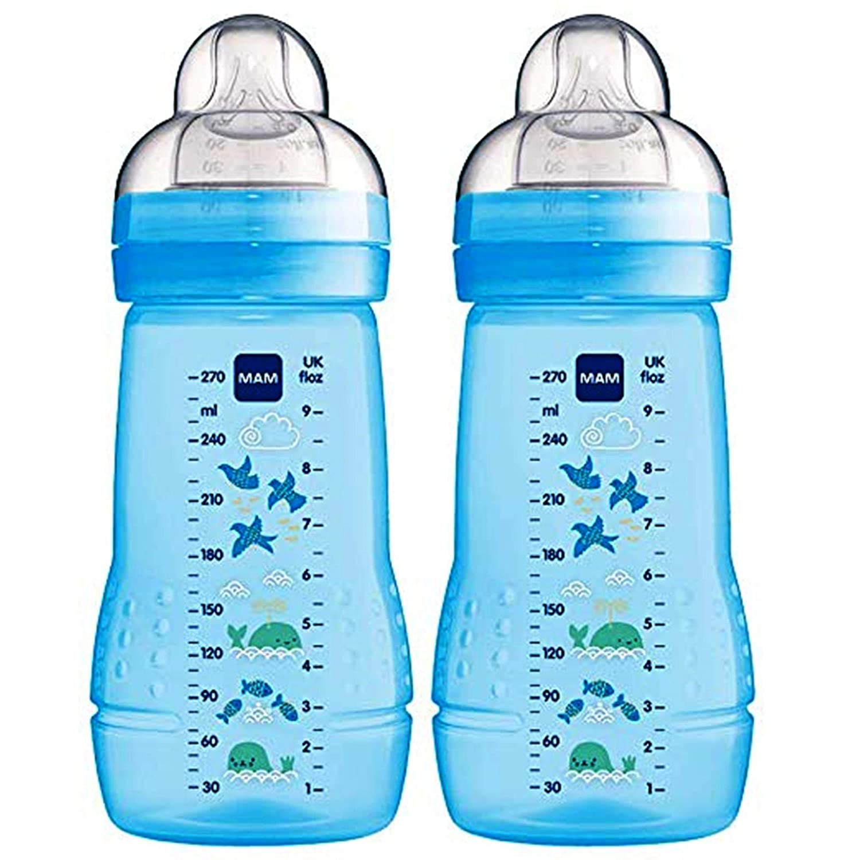 Medium Flow Pack of 2 MAM Easy Active Baby Bottle Blue 270ml