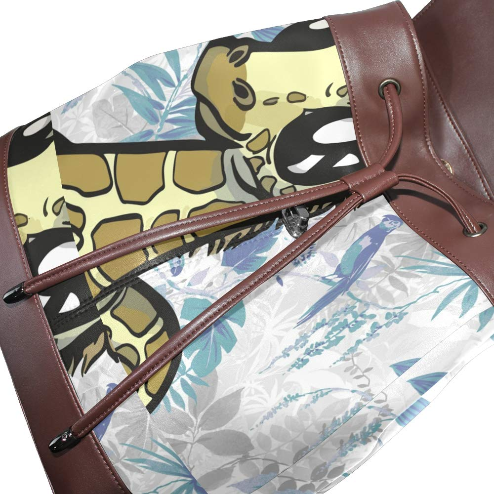 PU Leather Shoulder Bag,Baby Animals Giraffe Backpack,Portable Travel School Rucksack,Satchel with Top Handle