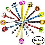 BUSHIBU 12 Pack Cartoon Pencil With Eraser Colorful Novelty Cartoon Animals Stripe Assorted Colorful Kids Pencils