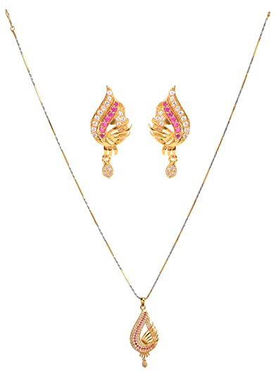 3e145a60d Buy KARP American Diamond Gold Plated Daily Wear Pendant Set with Fancy  Party Wear Earrings (RE-52) Online at Low Prices in India | Amazon  Jewellery Store ...