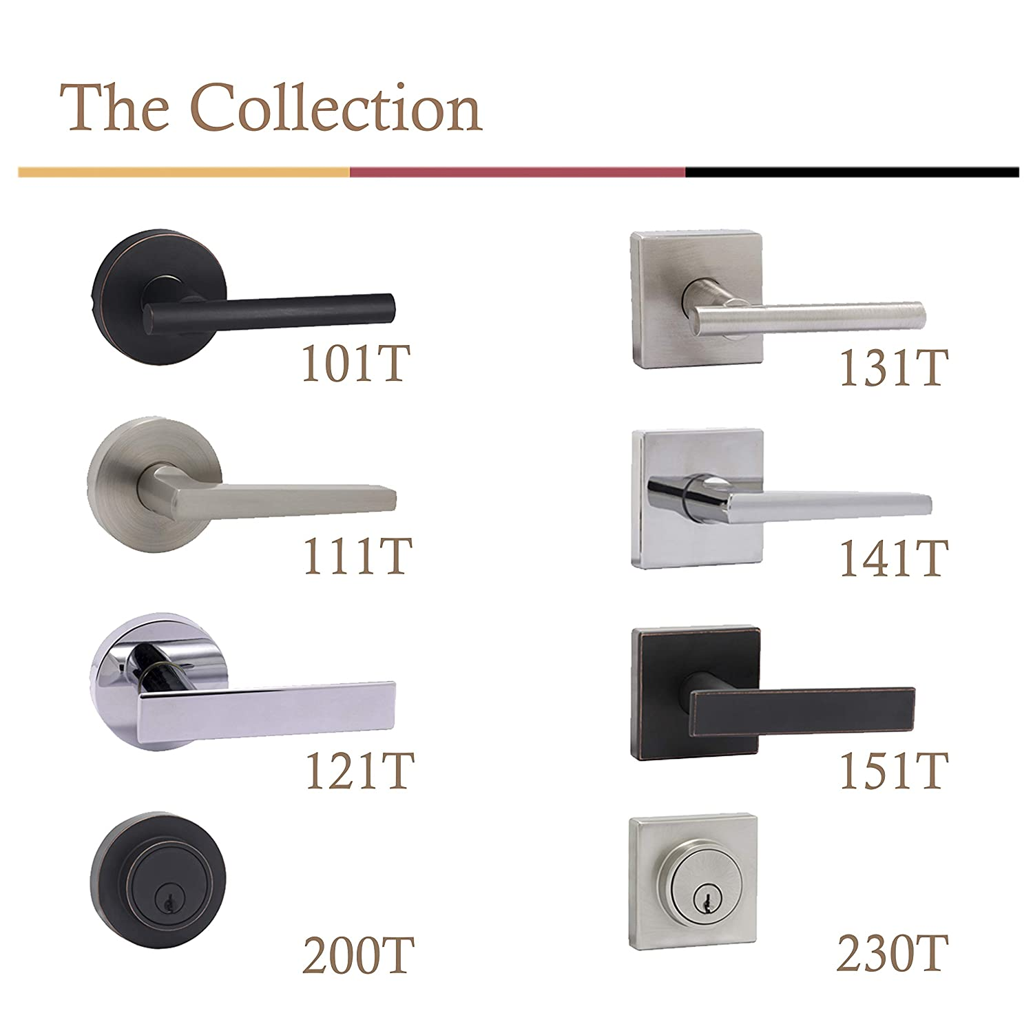 Polished Chrome Bamberg 122T Passage Door Lock Lever Handle for Hall and Closet