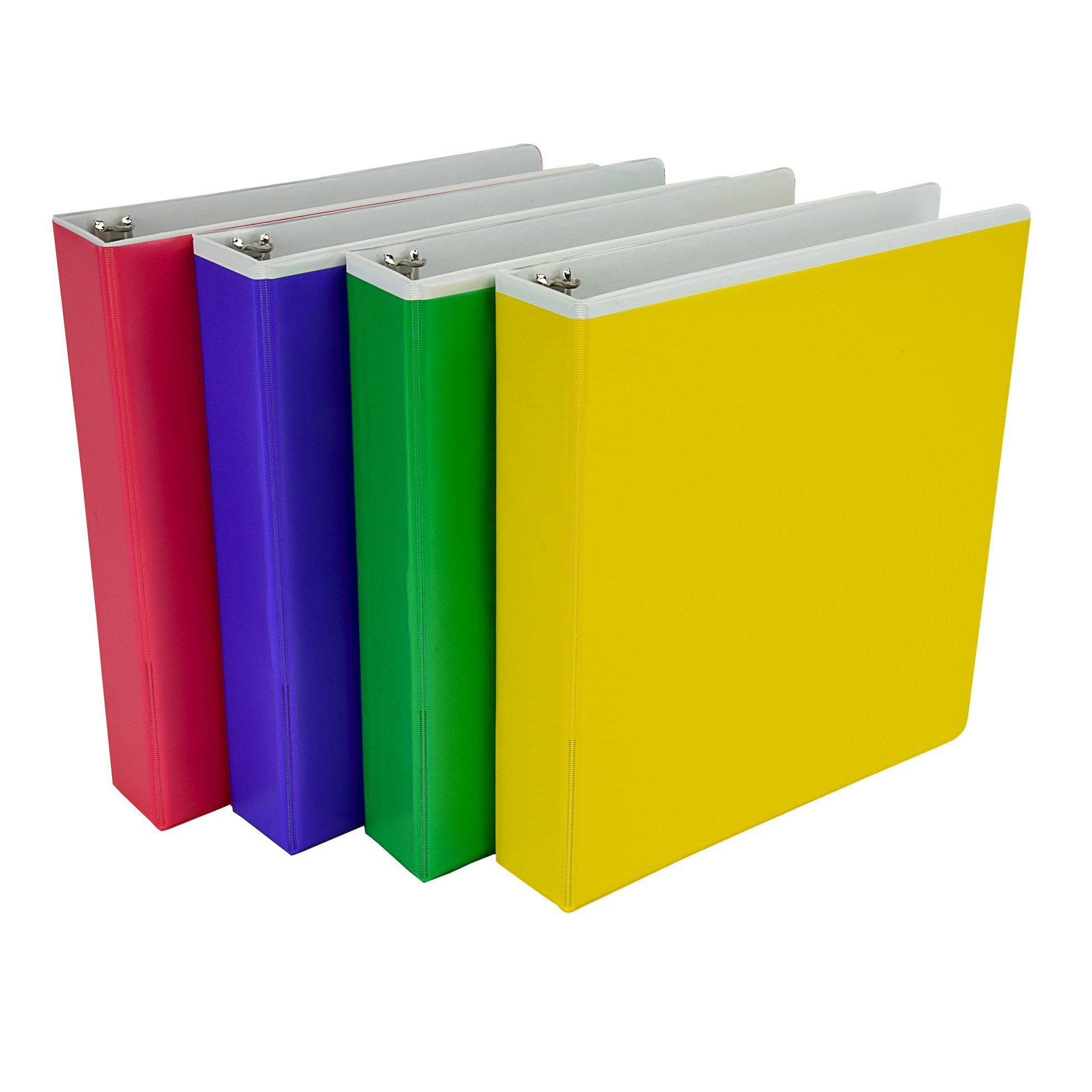 Samsill Fashion Color Pocket Tinted Overlay 3 Ring Binder, 1.5 Inch Round Rings, Customizable, Assorted Colors  (Pink, Purple, Green, Yellow),Bulk Binders - 4 Pack