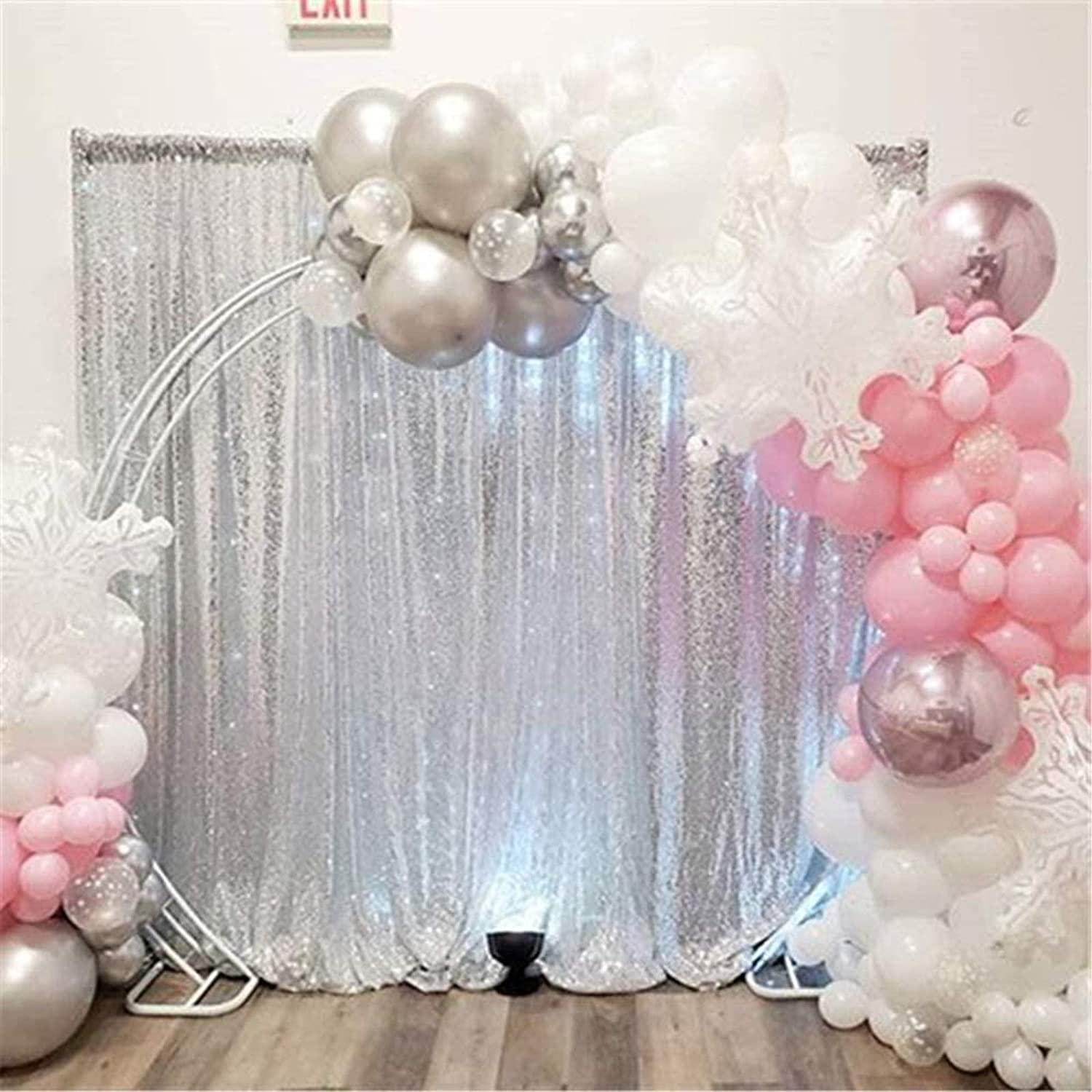 Zdada Silver Shimmer Backdrop Sequin Fabric Photography Backdrop 8ftx8ft Sparkly Curtain for Wedding//Party