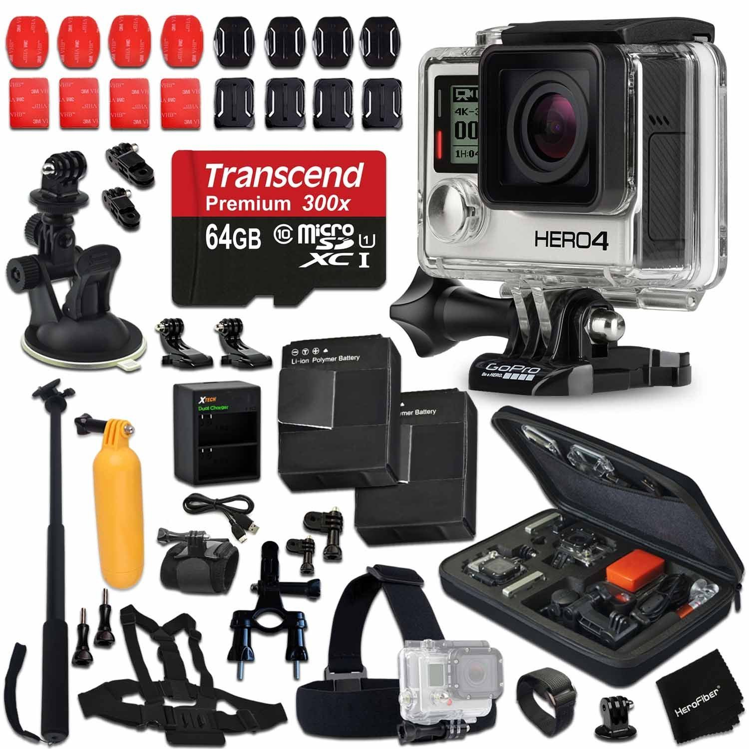 GoPro Hero 4 BLACK Edition Camera + 64GB High-Speed Memory Card + 2 AHDBT-401 Batteries + Dual charger + Custom Fitted Case + Car Mount + Head Strap + Chest Strap + Selfie Stick + Bike Mount + More by HeroFiber