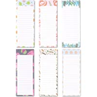 to-do-List Notepad - 6-Pack Magnetic Notepad, Grocery List Magnet Pad Stationery for to Do List, Floral Designs, 60 Sheets Per Pad