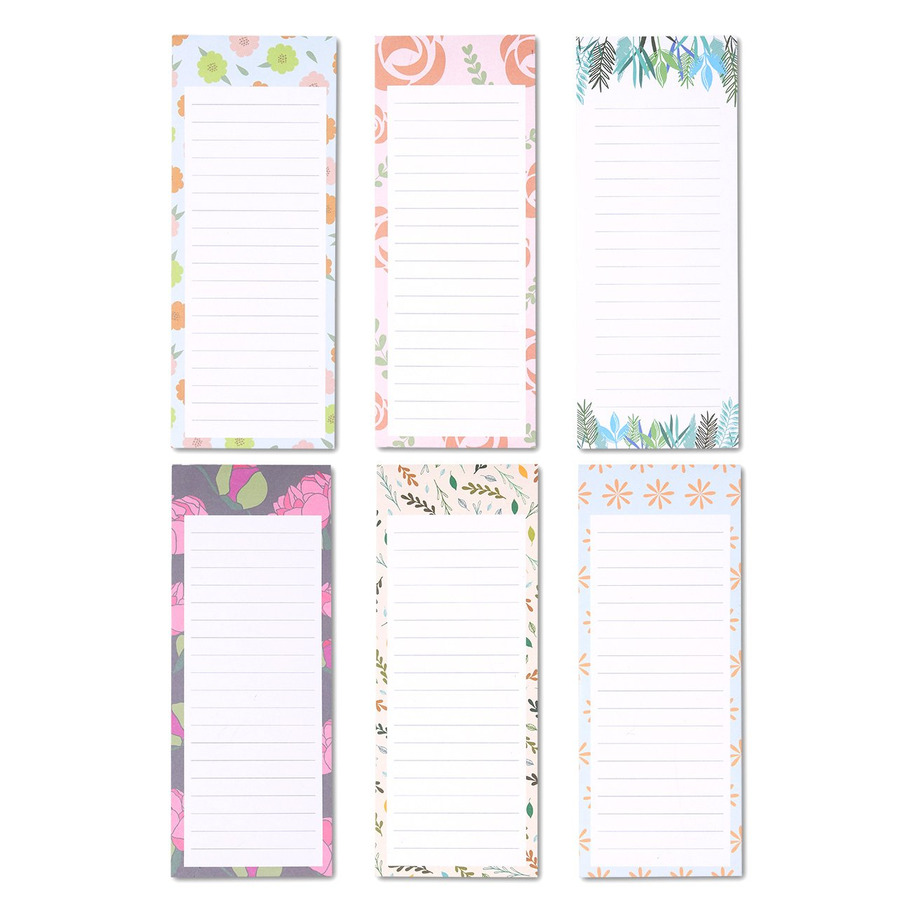 To-do-List Notepad – 6-Pack Magnetic Notepad, Grocery List Magnet Pad Stationery for To Do List, Floral Designs, 60 Sheets Per Pad