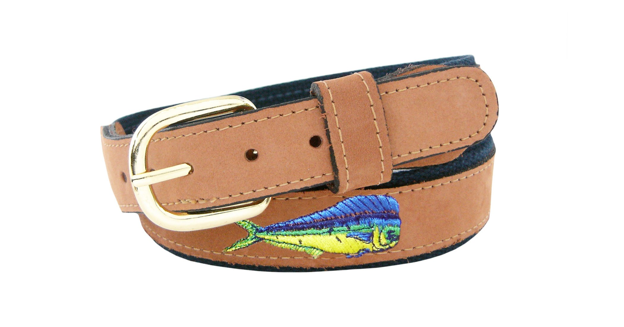 ZEP-PRO Men's Tan Leather Embroidered Dolphin Belt, 32-Inch, Tan/Navy