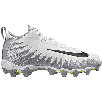 Nike Kids' Alpha Menace Shark Football Cleats (6, White/Silver) | Football