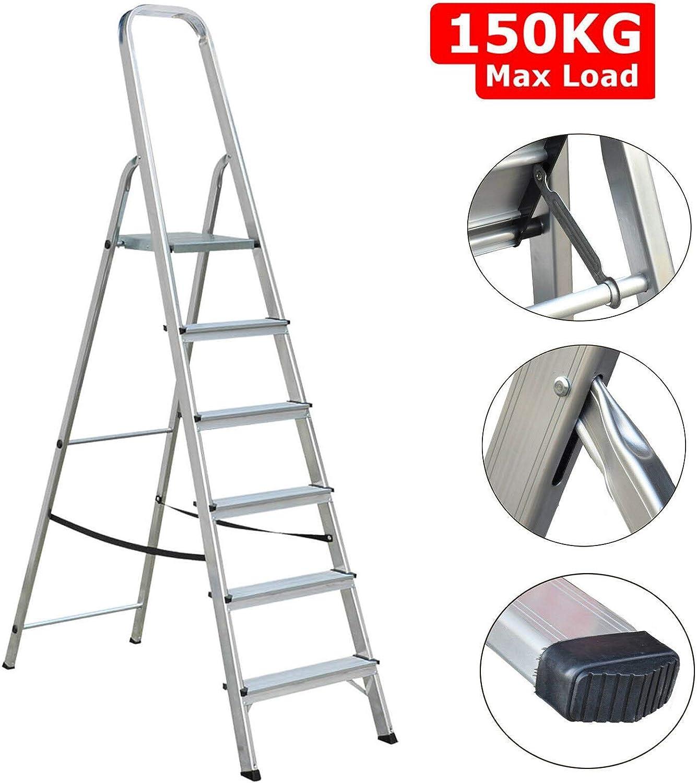 Escalera de aluminio con 6 peldaños antideslizantes, color plateado, ligera, portátil, con escalones anchos, kit de seguridad para casa, oficina, jardín, cocina: Amazon.es: Bricolaje y herramientas