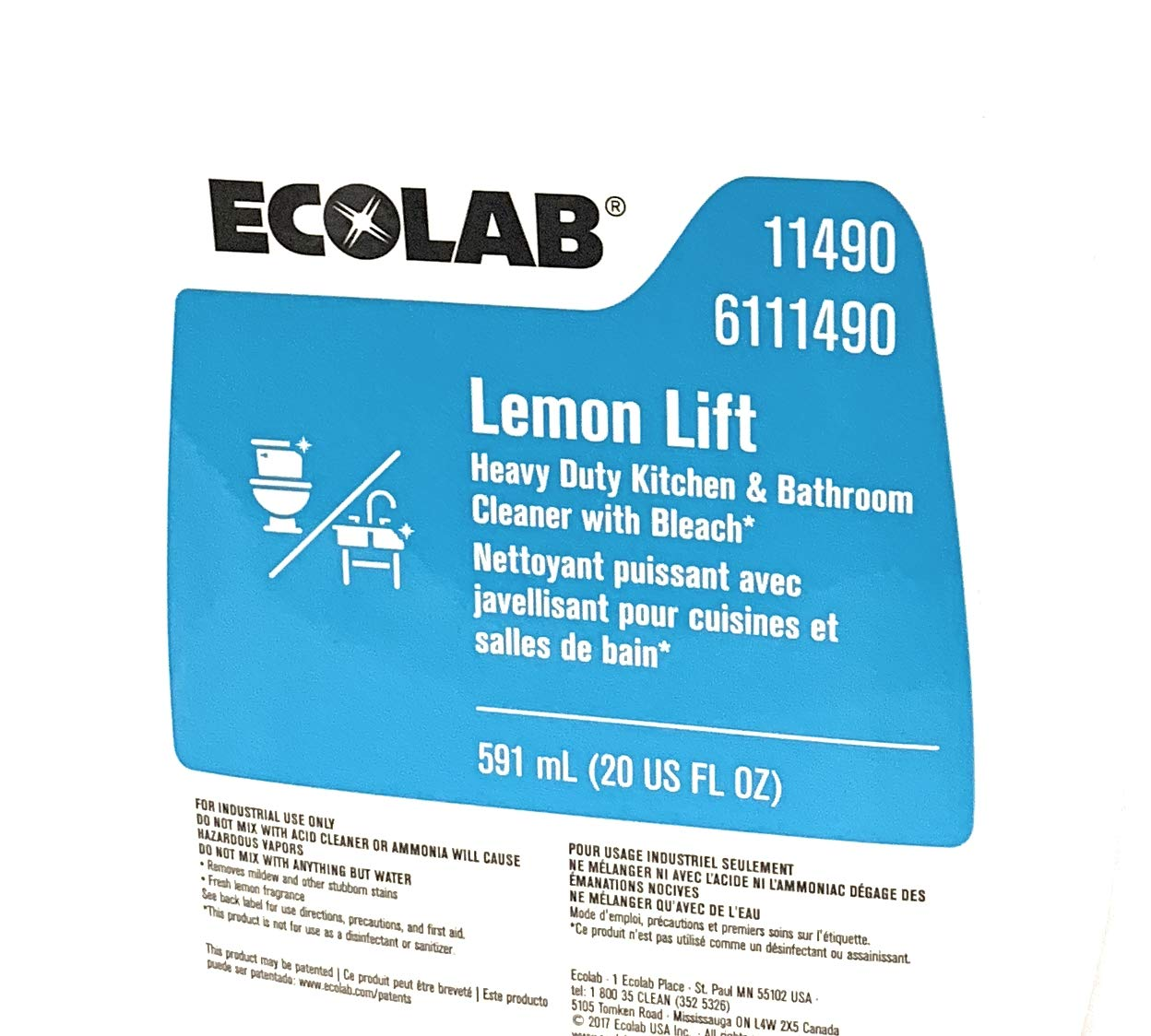 Ecolab Lemon Lift Heavy Duty Kitchen & Bathroom Cleaner with Bleach- 20 FL OZ