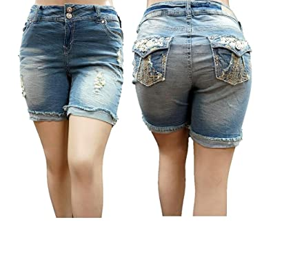 30d9038dd29 Image Unavailable. Image not available for. Color  Jack David Womens Plus  Size Short Stretch Distressed Ripped Blue Denim Jeans
