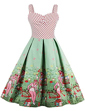 Mulanbridal Women Vintage 1950s Retro Floral Rockabilly Party Evening Prom Dresses Green 3XL