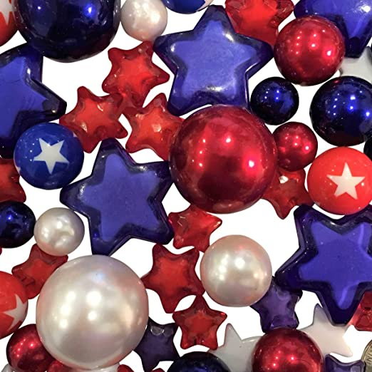Amazon Com 100 Floating Patriotic Red White Blue Pearls And
