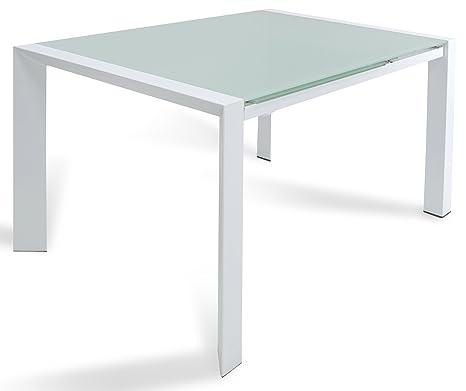 Tavolo Allungabile In Vetro Satinato.Tavolo Allungabile In Metallo E Vetro Satinato Lanni Slide