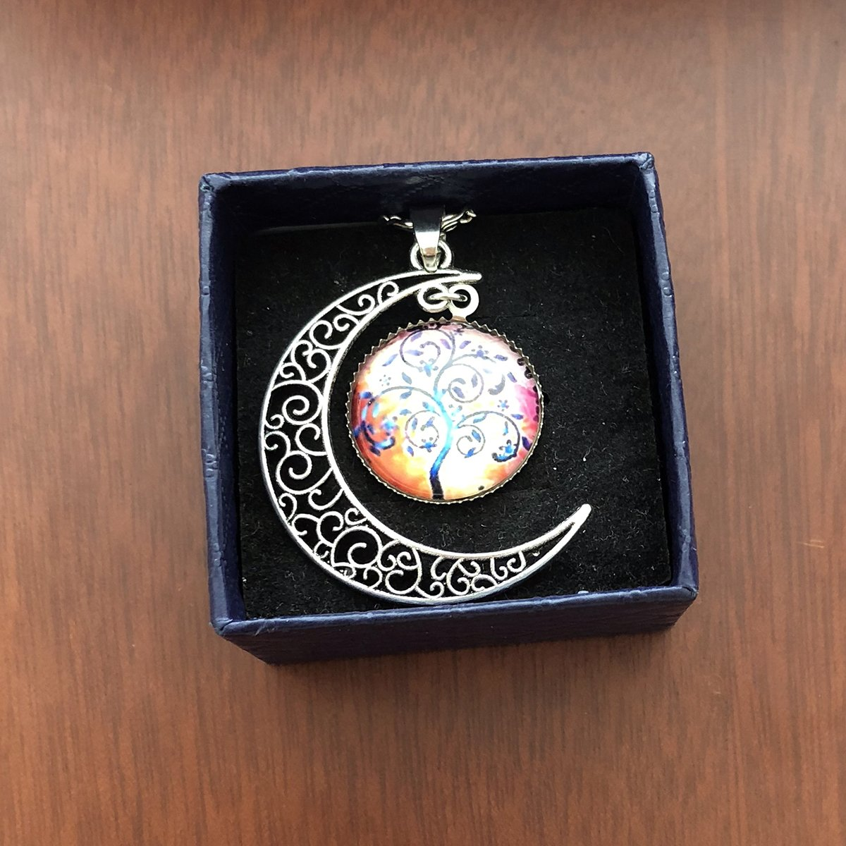 MayLove Carve Crescent Moon Tree of Life Necklace Glass Cabochon Pendant Galaxy Cosmic Chain Jewelry