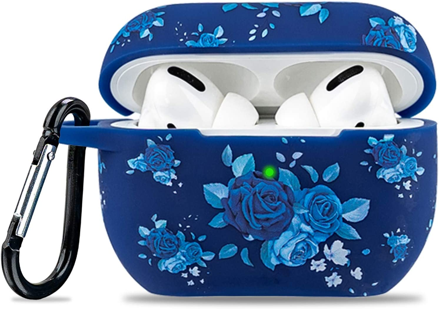 Airpod Pro Case Soft Silicone - LitoDream Flower Case Cover Flexible Skin for Apple AirPods Pro Charging Case Cute Women Girls Protective Skin with Keychain - Blue Rose