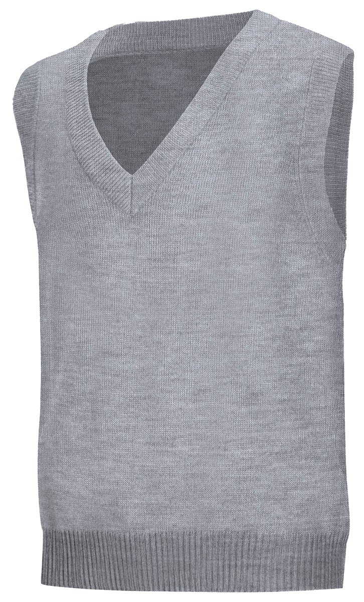 Classroom Men's Adult Unisex V-Neck Sweater Vest, Heather Grey, Small
