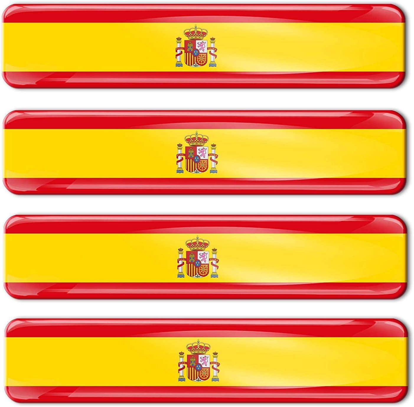 Skino - 4 pegatinas de gel de silicona 3D con la bandera de España ...