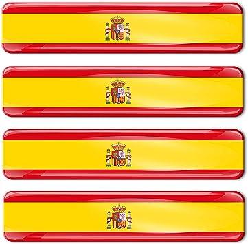 Skino - 4 pegatinas de gel de silicona 3D con la bandera de España para coche, moto, ventana, puerta, PC, tableta, ordenador portátil, accesorios Tuning F 21: Amazon.es: Coche y moto