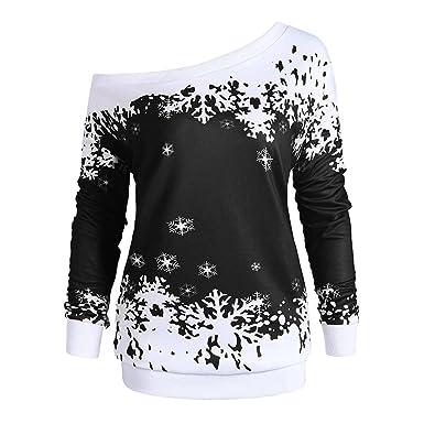 a74867593d99d DEZZAL Women s Plus Size Skew Neck Christmas Snowflake Pullover Sweatshirt  (Black