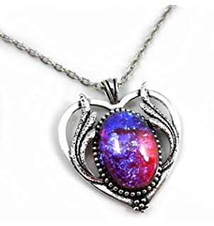 Amazon mexican opal dragons breath fire glass amulet pendant large mexican fire dragons breath opal art deco heart necklace silver w 20 inch chain aloadofball Choice Image