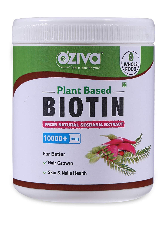 OZiva Plant Based Biotin. 10,000+ mcg (with Sesbania Agati, Bamboo Shoot, Amla & More), 120 g