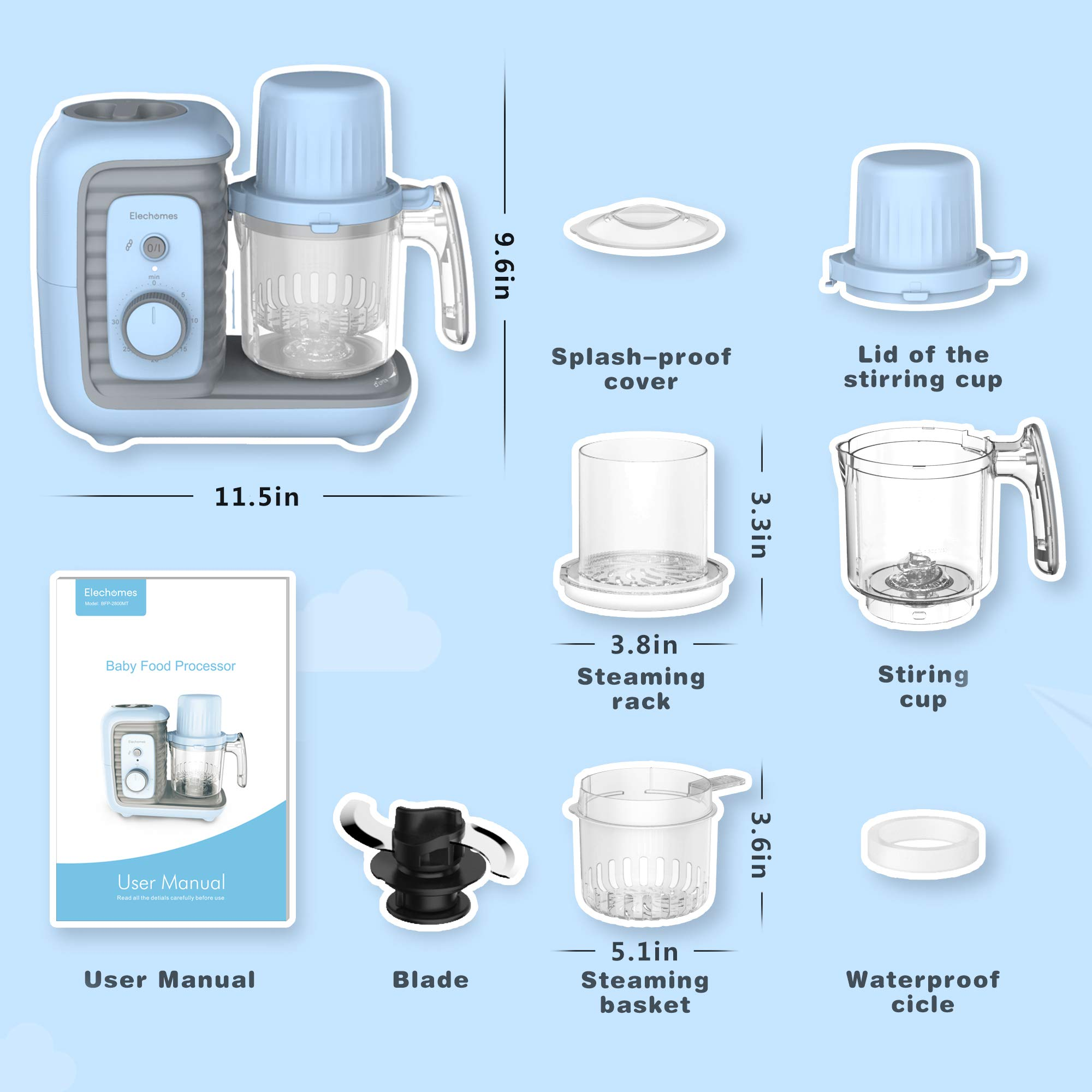 Elechomes Baby Food Maker Processor, Double Steam Basket Cooker with Timer, Blender, Steamer for Baby Infants Toddlers Food by Elechomes (Image #7)