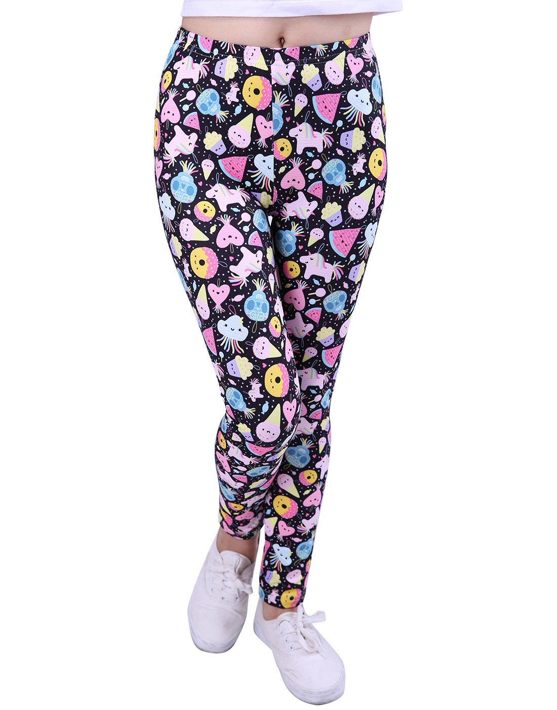 HDE Girl's Ultra Soft Leggings with Print Designs Full Ankle Length Comfy Pants (Party Treats, Medium)