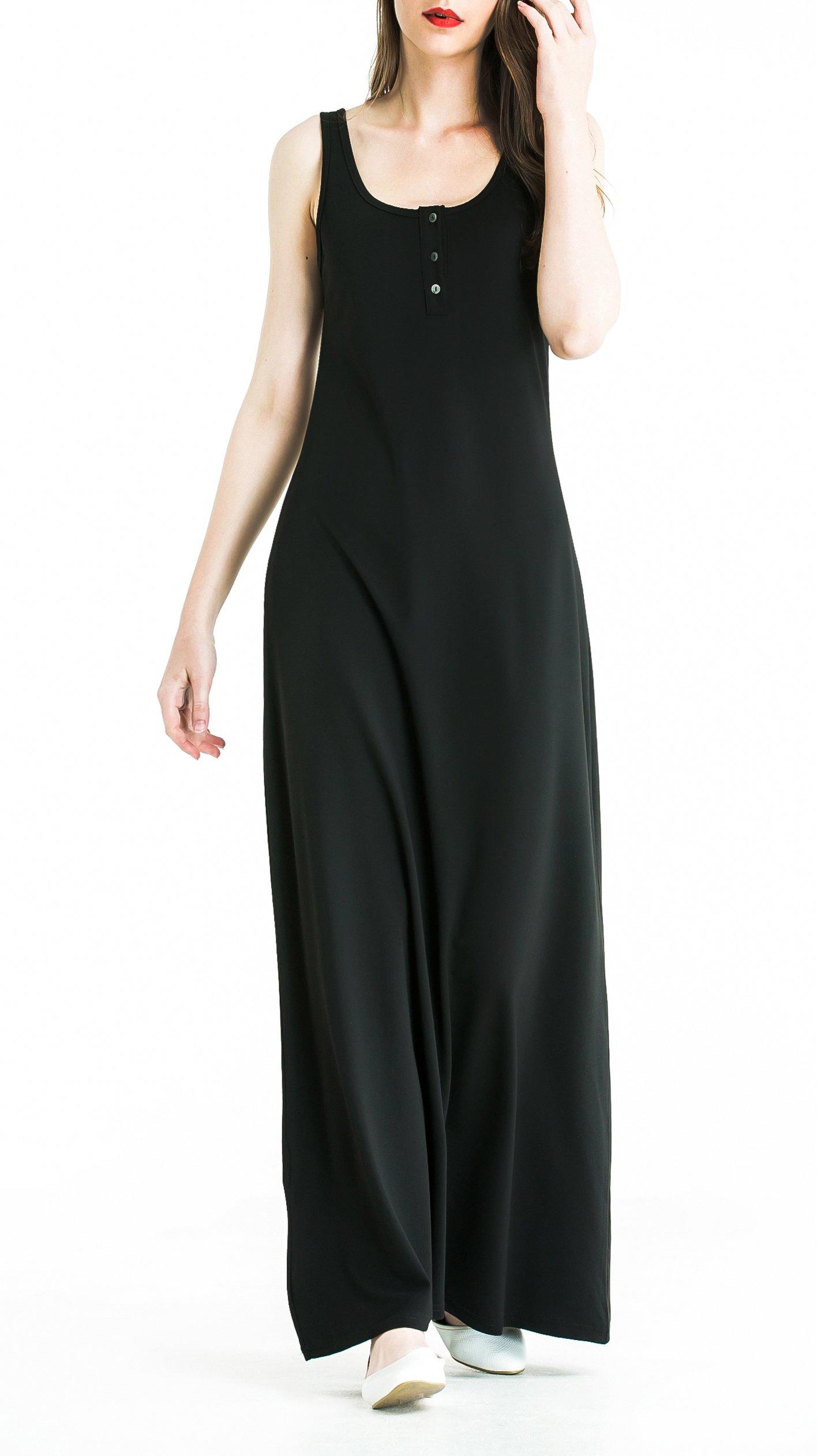 Zredurn Women's O-Neck Casual Home Beach Maxi Long Dress (Black, L)