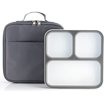 mini Modetro Ultra Slim Leak Proof Bento Lunchbox with 3 Portion Control Compartments
