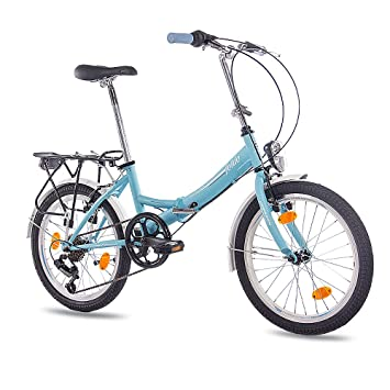 20 pulgadas bicicleta plegable para bicicleta plegable bicicleta CHRISSON foldo con 6 velocidades Shimano Azul