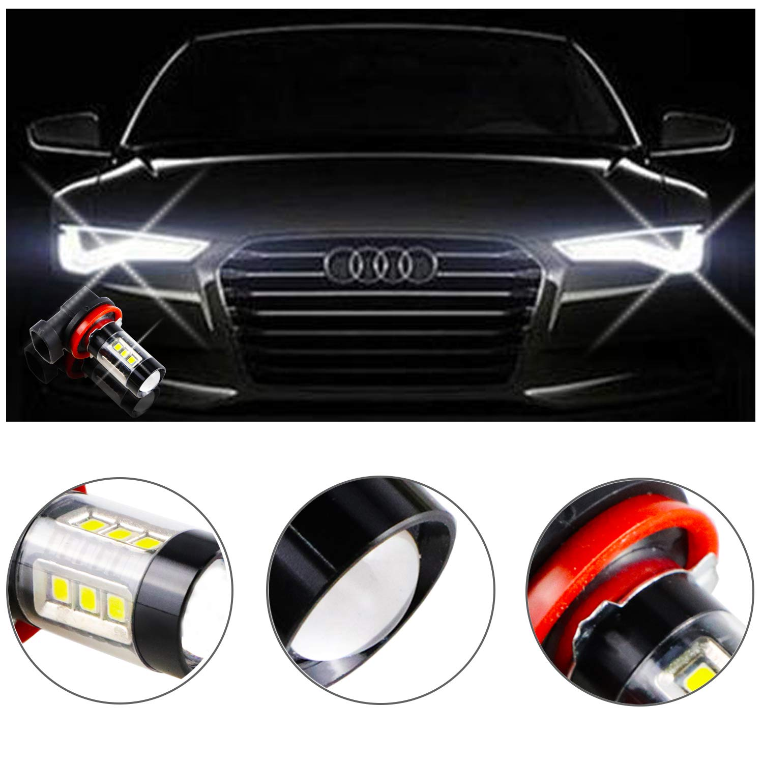 H10 9145 Fog Light Bulbs LED 50W Ultra Extremely Bright 6000K 10 SMD White Xenon Driving Light Bulbs Lamps Pack of 2