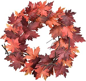 Cloris Art Wreath for Front Door, 22-24 Inch Artificial Fall Maple Leaves Farmhouse Red Wreaths for Home Wedding Party Indoor Outdoor Wall Window Decor