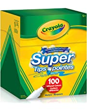 Crayola Super Tips Washable Markers, 100 Count, 100 Ct Supertips, Bulk, Adult Colouring, School and Craft Supplies, Drawing Gift for Boys and Girls, Kids, Teens Ages 5, 6,7, 8 and Up, Back to school, Arts and Crafts, School supplies,  Gifting