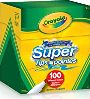 Crayola Super Tips Washable Markers, 100 Count, 100 Ct Supertips, Bulk, Adult Colouring, School and Craft Supplies,...