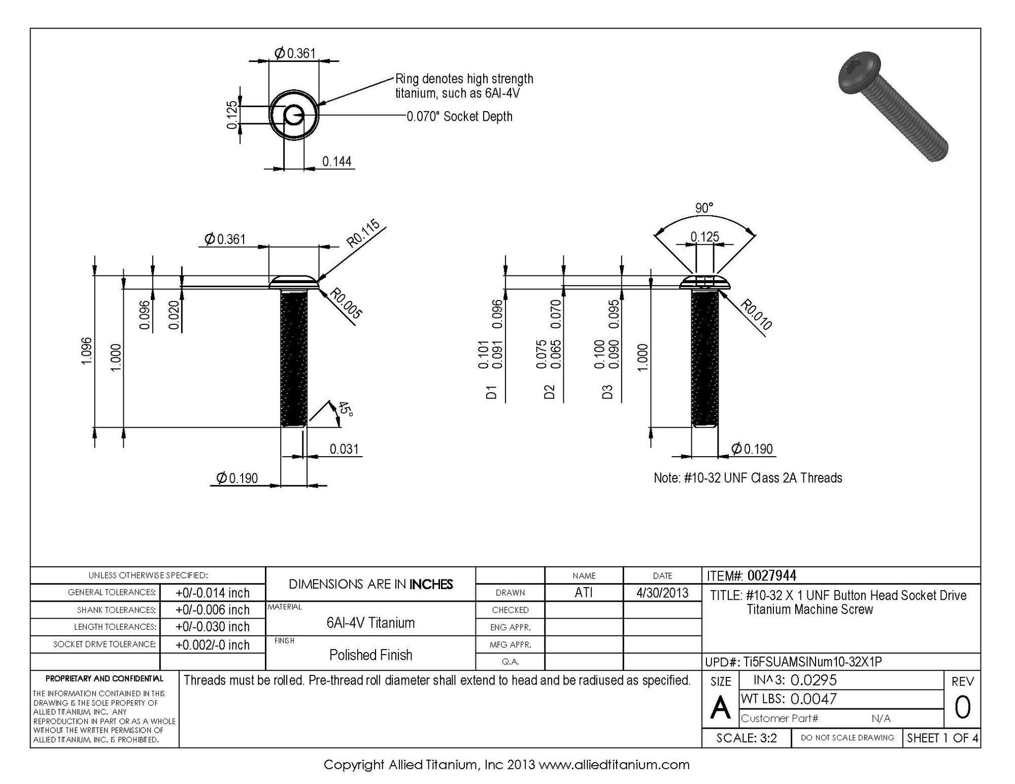 Allied Titanium 0027944, (Pack of 10) #10-32 X 1 UNF Button Head Socket Drive Machine Screw, Grade 5 (Ti-6Al-4V) by Allied Titanium (Image #2)