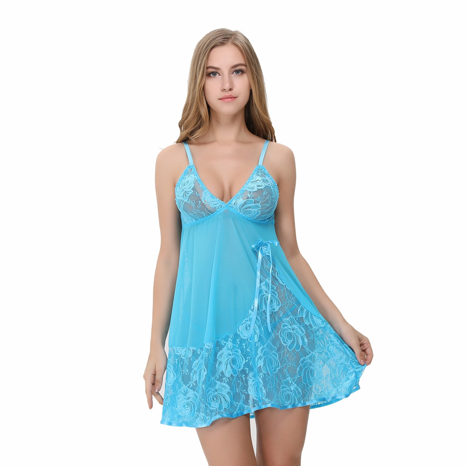 Advoult Women Babydolls Sexy Lingerie Nighty Lace Sleepwear Mesh Chemise Outfits by Advoult (Image #2)