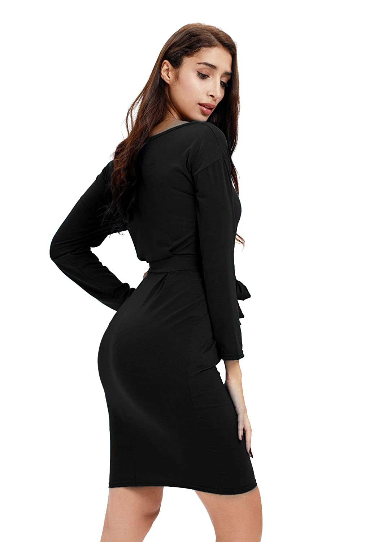 45f95b1ddaa7 Payeel Office Midi Dresses O-Neck Pencil Dress Pockets with Belt Vest  Dresses at Amazon Women's Clothing store: