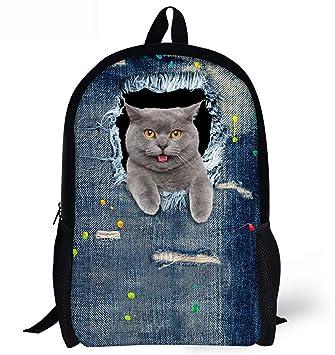 ZLQF Mochila,3D Patrones De Gato Daypack del Morral De Las Muchachas Bolsa De Escuela