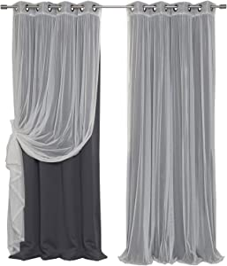 "Best Home Fashion uMIXm Tulle Sheer Lace and Blackout 4 Piece Curtain Set – Antique Bronze Grommet Top – Dark Grey – 52"" W x 84"" L – (2 Curtains and 2 Sheer Curtains)"
