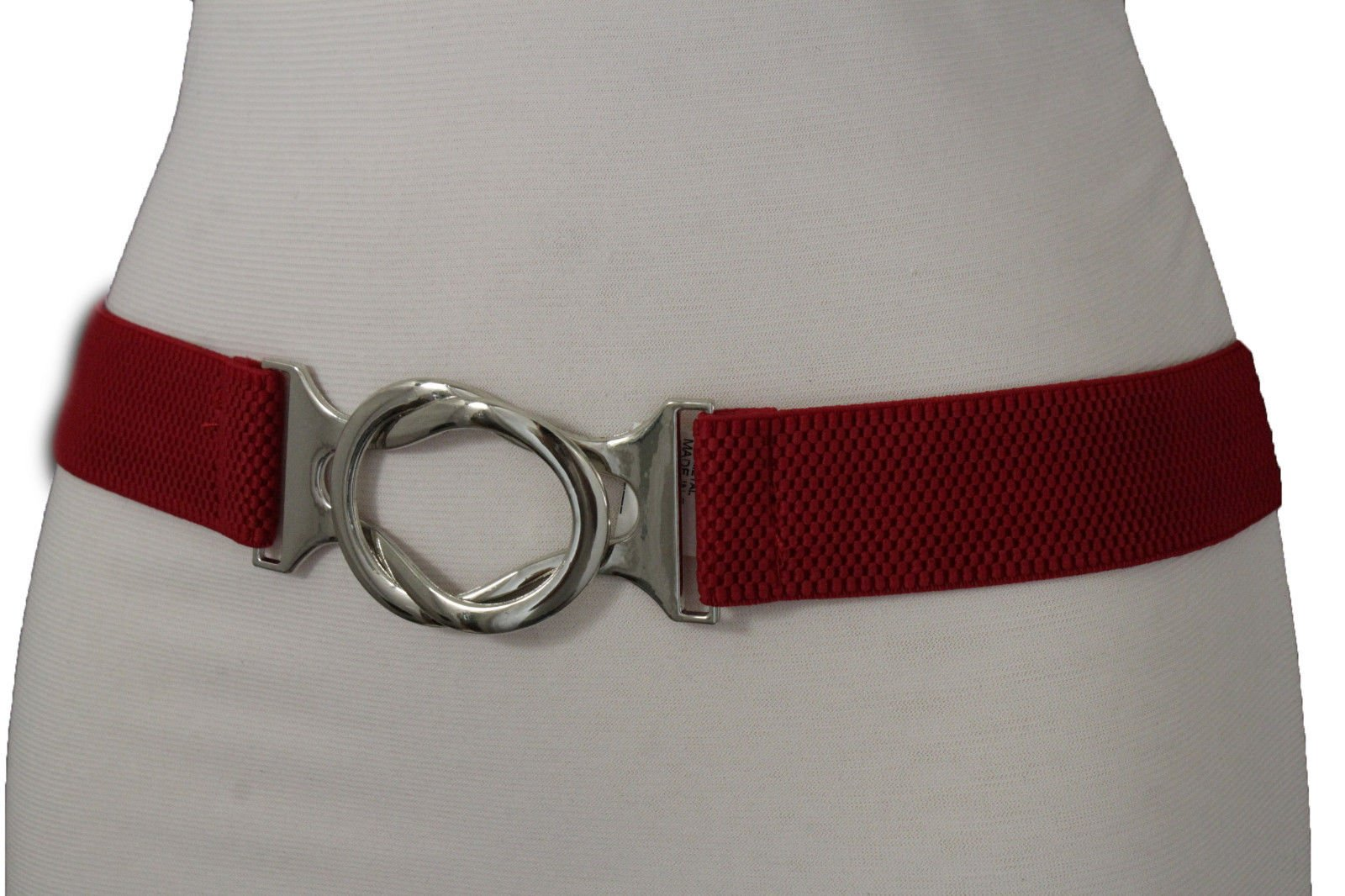 TFJ Women Fashion Silver Buckle Belt Hip Waist Skinny Elastic Band One Size S M Red