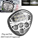 PROATUO Chrome Bezel Cree Chip LED Motorcycle Headlight wit High 60w Low 40w Beam for Victory Cross-Country Motorcycle headlight Assembly for Victory Vegas